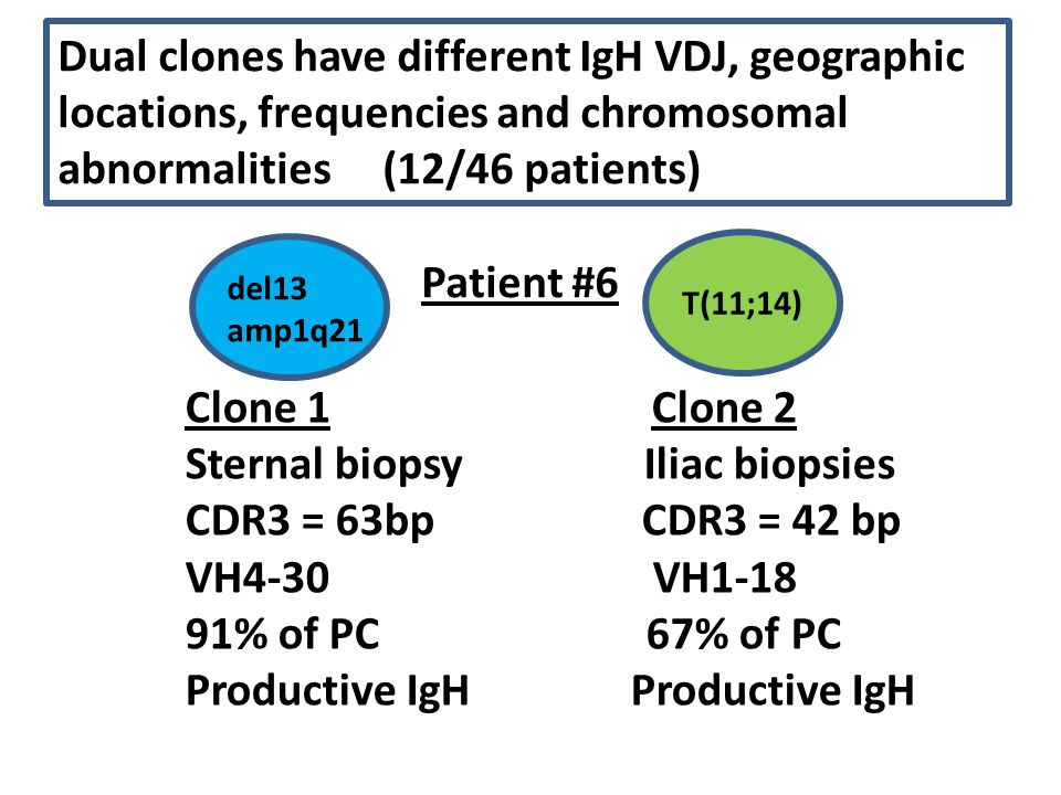 Dual clones have different IgH VDJ, geographic locations, frequencies and chromosomal abnormalities (12/46 patients) Patient #6 Clone 1 Clone 2 Sterna
