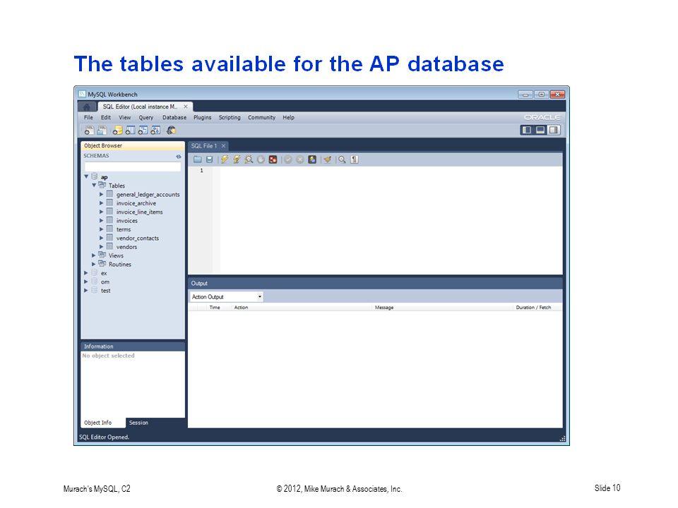 Murach's MySQL, C2© 2012, Mike Murach & Associates, Inc.Slide 10