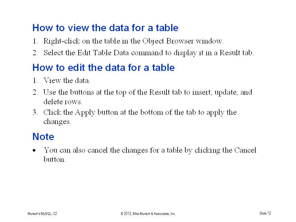 Murach's MySQL, C2© 2012, Mike Murach & Associates, Inc.Slide 12