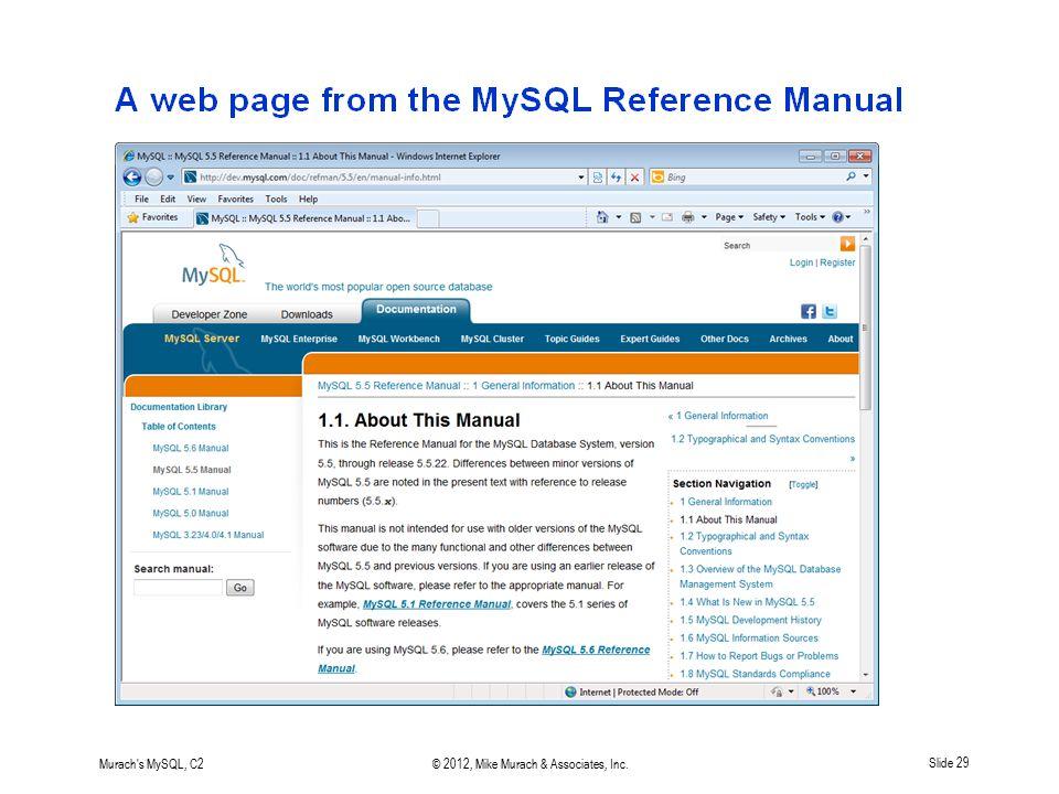 Murach's MySQL, C2© 2012, Mike Murach & Associates, Inc.Slide 29