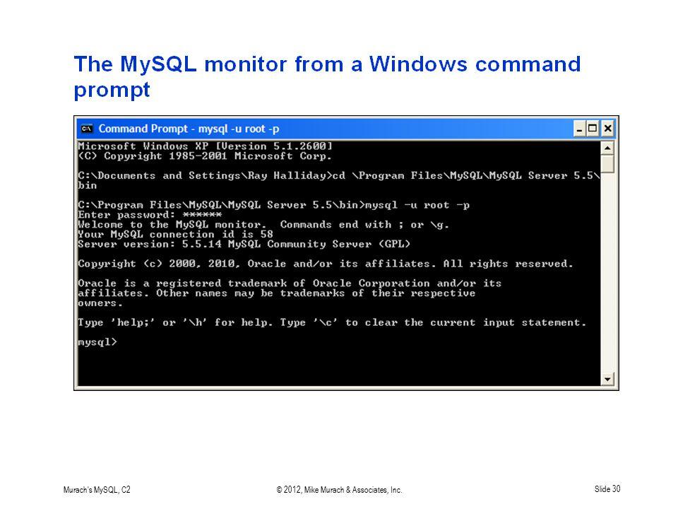 Murach's MySQL, C2© 2012, Mike Murach & Associates, Inc.Slide 30