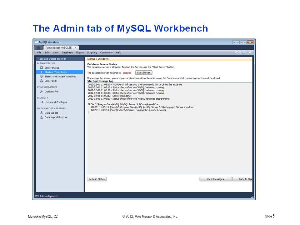 Murach's MySQL, C2© 2012, Mike Murach & Associates, Inc.Slide 5