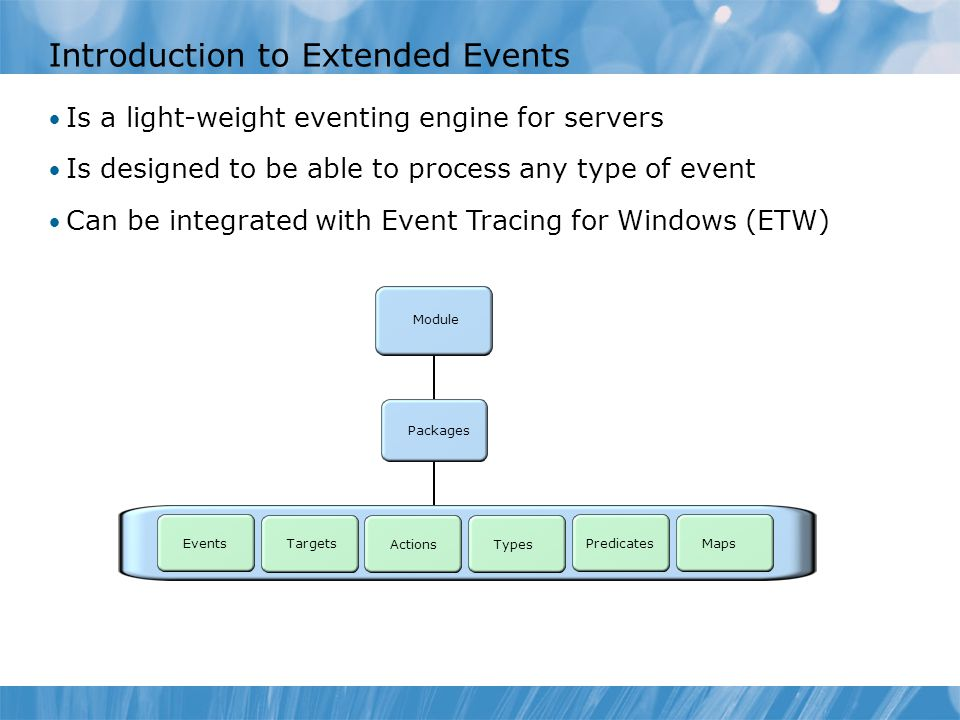 Introduction to Extended Events Is a light-weight eventing engine for servers Is designed to be able to process any type of event Can be integrated wi