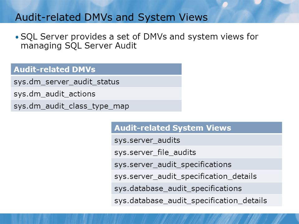 Audit-related DMVs and System Views SQL Server provides a set of DMVs and system views for managing SQL Server Audit Audit-related System Views sys.se