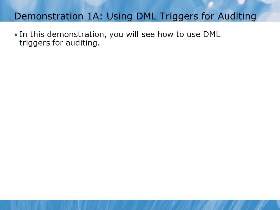 Lesson 2: Implementing SQL Server Audit Introduction to Extended Events Introduction to SQL Server Audit Configuring SQL Server Audit Audit Actions and Action Groups Defining Audit Targets Creating Audits Creating Server Audit Specifications Creating Database Audit Specifications Audit-related DMVs and System Views Demonstration 2A: Using SQL Server Audit