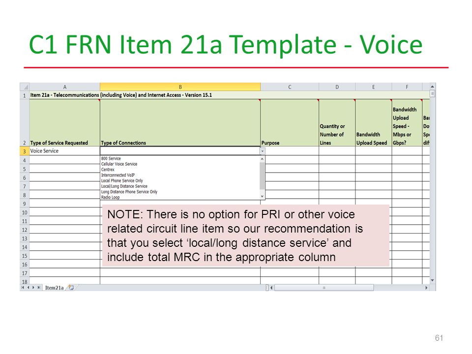 C1 FRN Item 21a Template - Voice 61 NOTE: There is no option for PRI or other voice related circuit line item so our recommendation is that you select 'local/long distance service' and include total MRC in the appropriate column