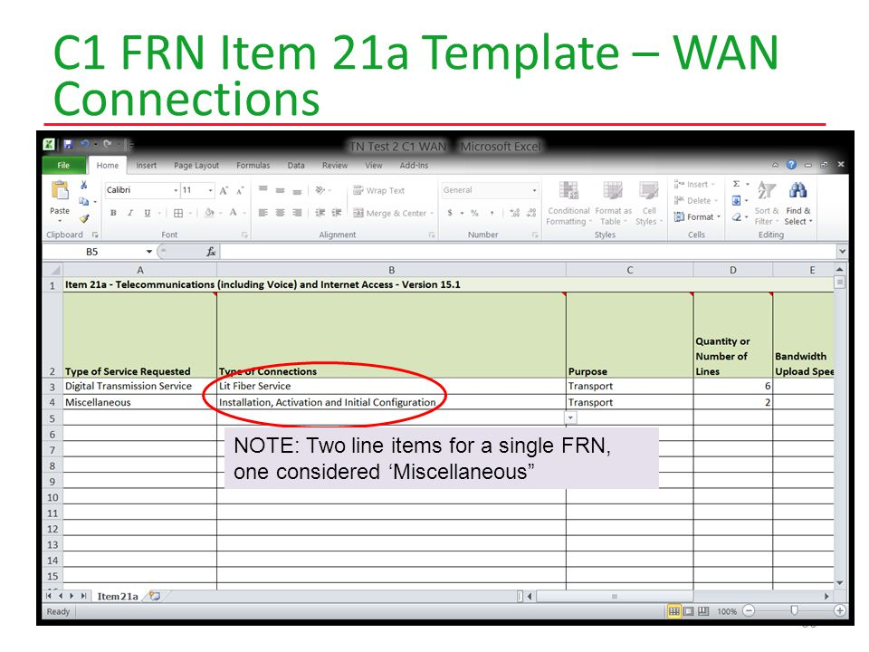 C1 FRN Item 21a Template – WAN Connections 66 NOTE: Two line items for a single FRN, one considered 'Miscellaneous