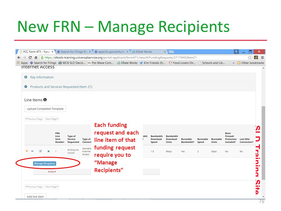 New FRN – Manage Recipients 79 Each funding request and each line item of that funding request require you to Manage Recipients
