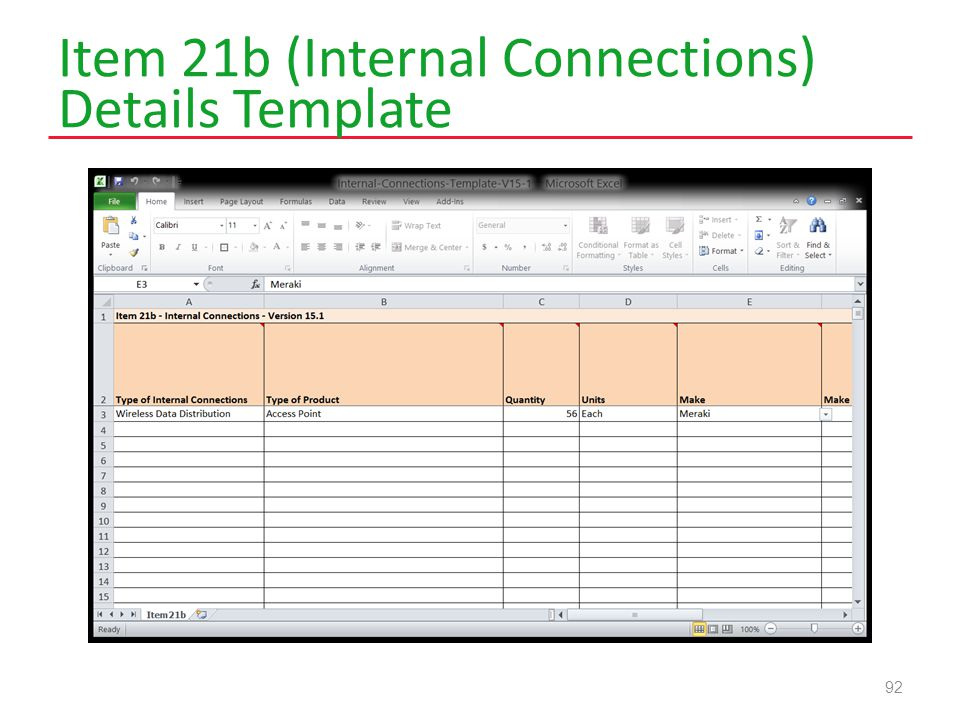Item 21b (Internal Connections) Details Template 92