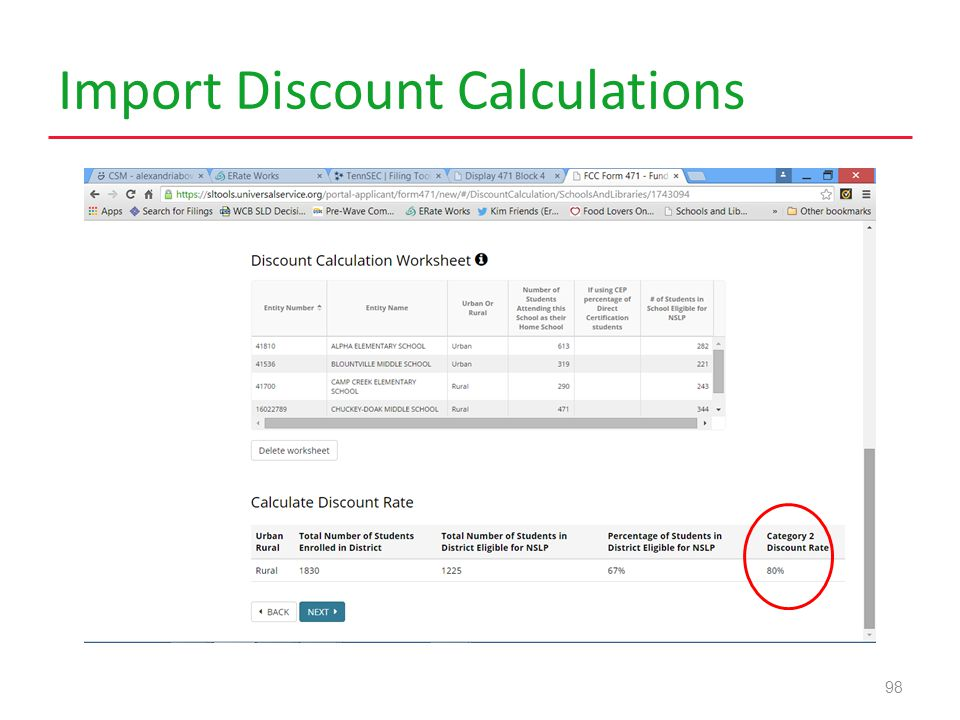 Import Discount Calculations 98