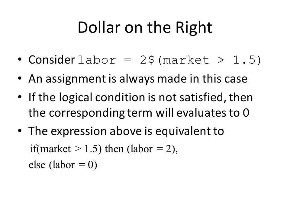 Dollar to filter assignments in a set Consider Variable shipped(i,j), total_cost; Equation costcalc; costcalc..