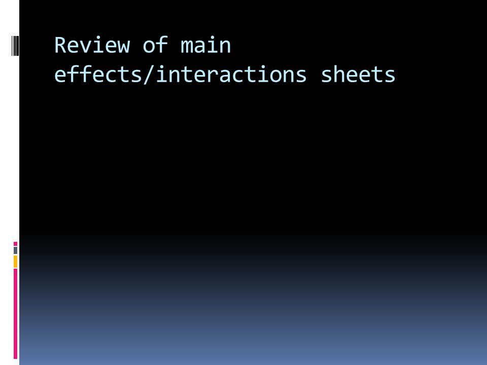 Review of main effects/interactions sheets