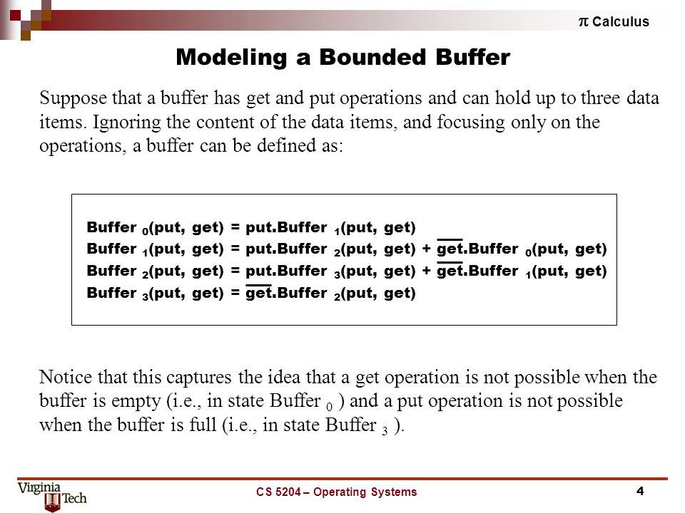  Calculus CS 5204 – Operating Systems4 Modeling a Bounded Buffer Suppose that a buffer has get and put operations and can hold up to three data items.