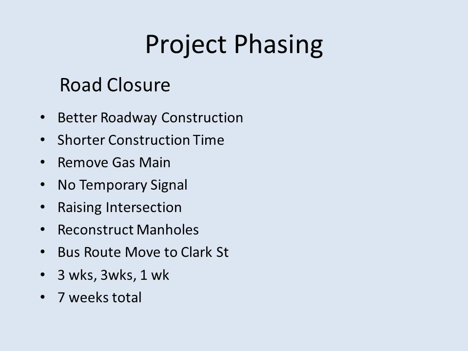 Project Phasing Road Closure Better Roadway Construction Shorter Construction Time Remove Gas Main No Temporary Signal Raising Intersection Reconstruc
