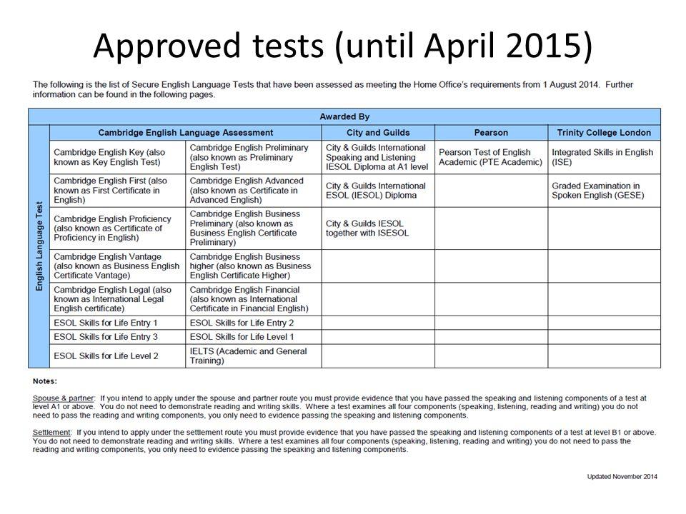 Approved tests (until April 2015)