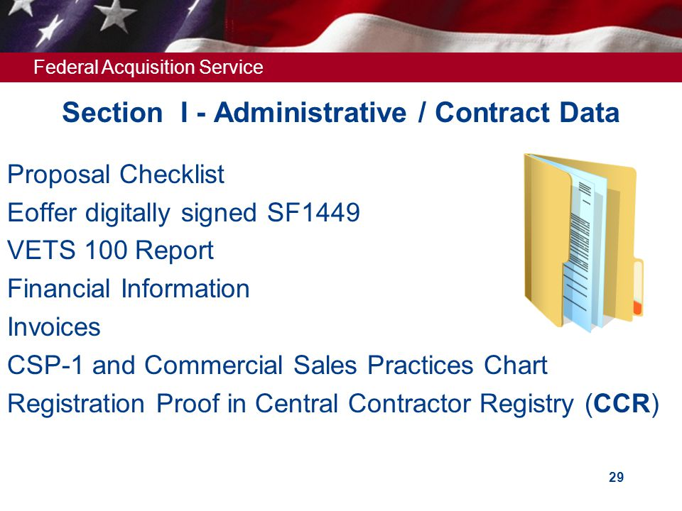 Federal Acquisition Service 28 Section I Administrative/Contract Data
