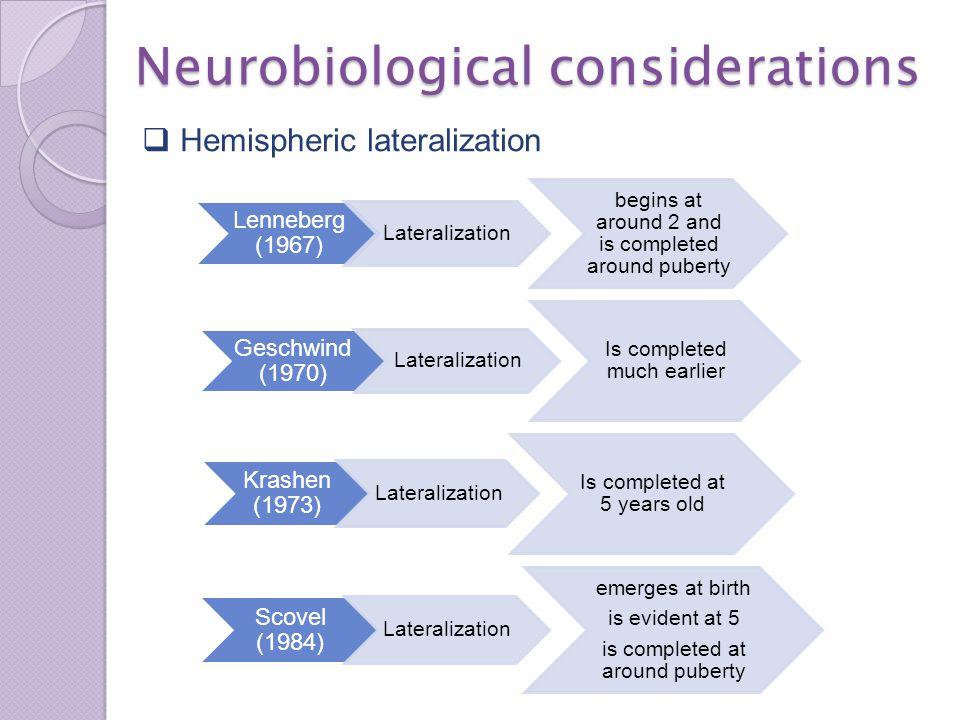 Neurobiological considerations  Biological Timetables Scovel (1988) Sociobiological critical period mammals birds human beings.