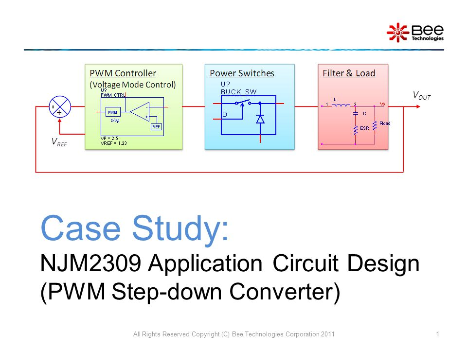 Case Study: NJM2309 Application Circuit Design (PWM Step-down Converter) All Rights Reserved Copyright (C) Bee Technologies Corporation 20111