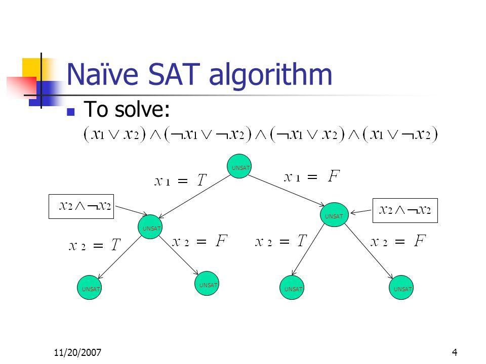 Naïve SAT algorithm To solve: 11/20/20074 UNSAT