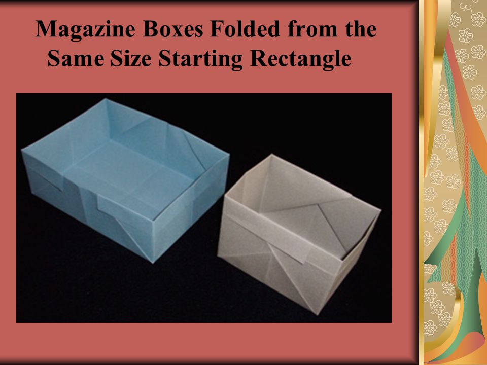 Magazine Boxes Folded from the Same Size Starting Rectangle
