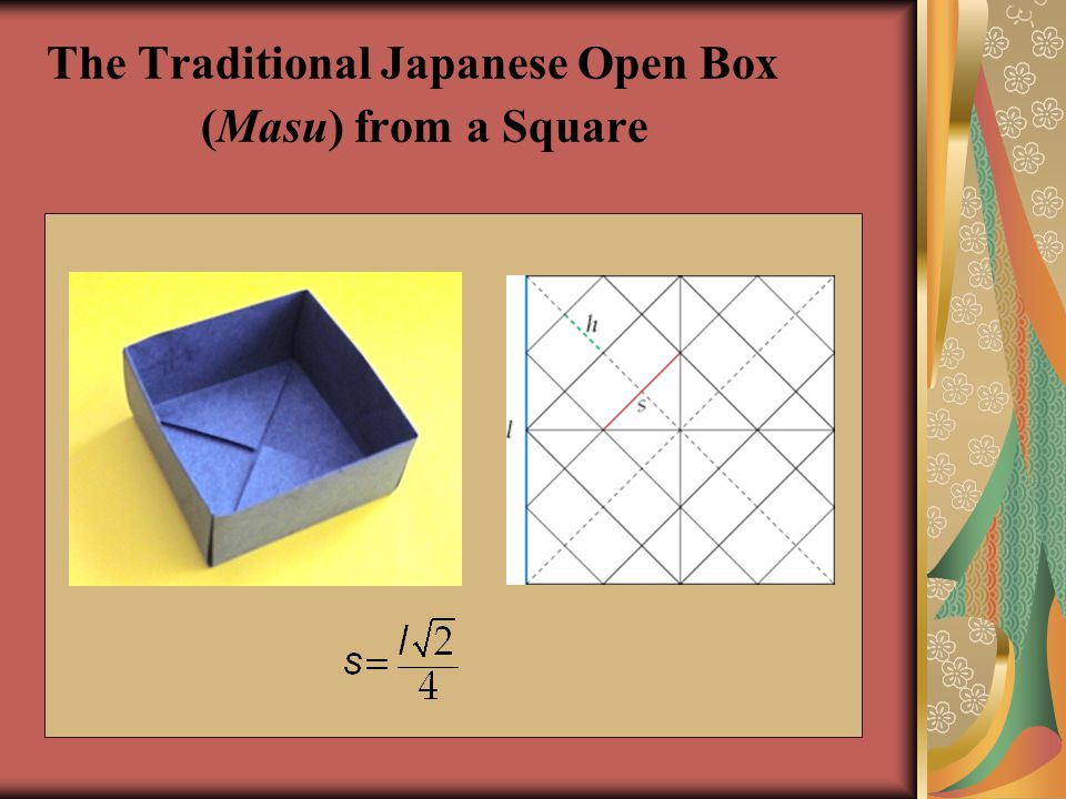 The Traditional Japanese Open Box (Masu) from a Square
