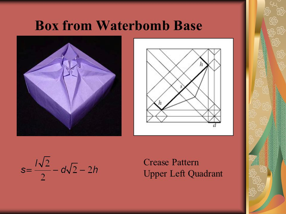Box from Waterbomb Base Crease Pattern Upper Left Quadrant