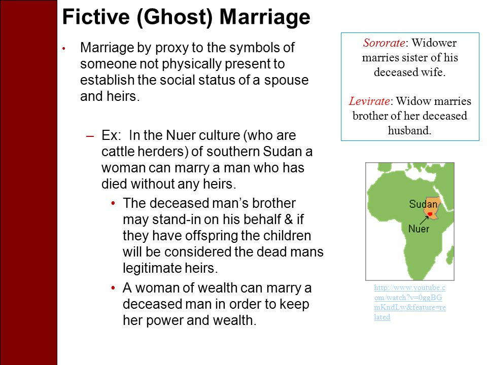 Fictive (Ghost) Marriage Marriage by proxy to the symbols of someone not physically present to establish the social status of a spouse and heirs. –Ex: