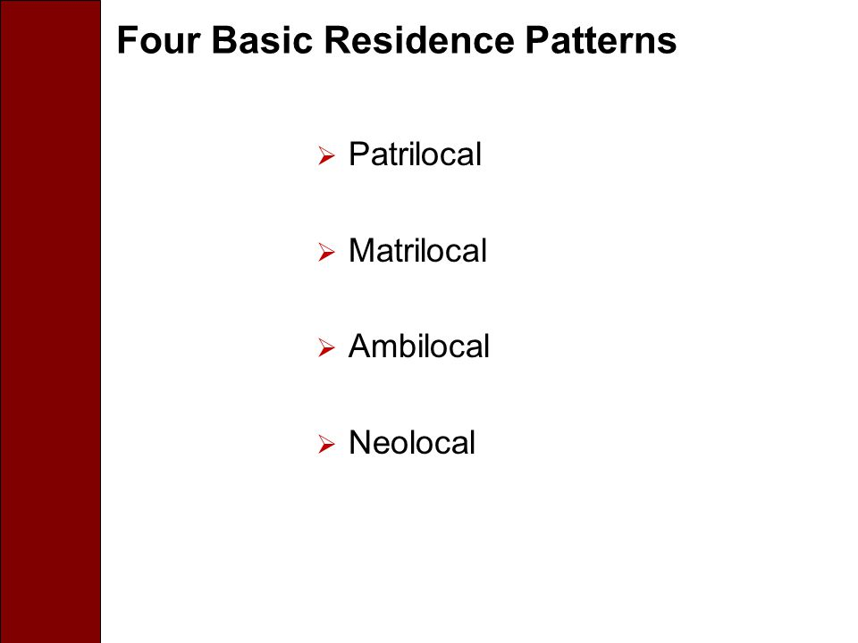 Four Basic Residence Patterns  Patrilocal  Matrilocal  Ambilocal  Neolocal