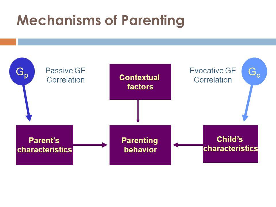 Mechanisms of Parenting Parenting behavior Parent's characteristics Contextual factors Child's characteristics Passive GE Correlation Evocative GE Correlation GpGp GcGc