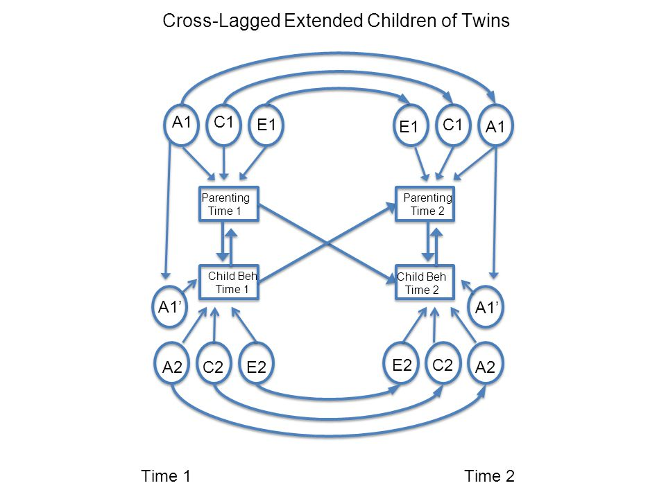 Time 1Time 2 Parenting Time 1 Child Beh Time 1 A1 A2 C1 C2 E2 E1 A1' Parenting Time 2 Child Beh Time 2 C1 C2 E2 A2 A1E1 A1' Cross-Lagged Extended Children of Twins