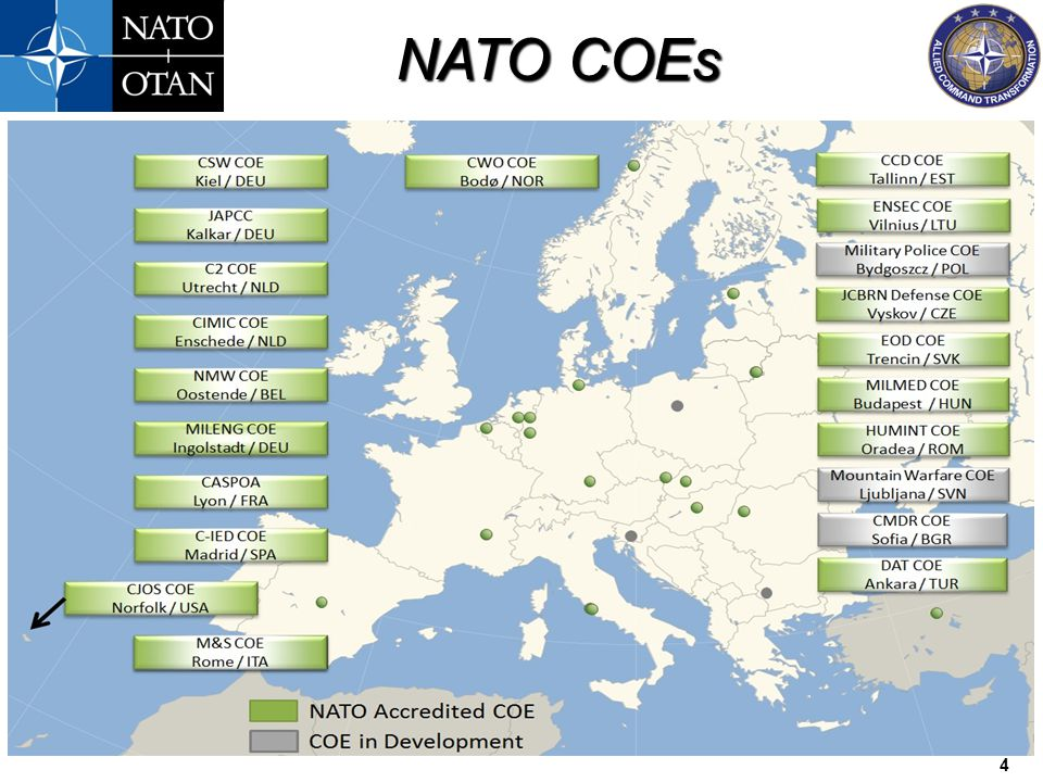 NATO COEs 15 Questions Tony Wedge, GBR NIC NATO COE Establishment & Accreditation SME Office: +1 757 747 3553 Mobile: +1 757 842 0115 Email: wedge@act.nato.int Web: https://transnet.act.nato.int/