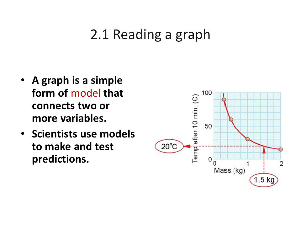2.1 Reading a graph A graph is a simple form of model that connects two or more variables. Scientists use models to make and test predictions.