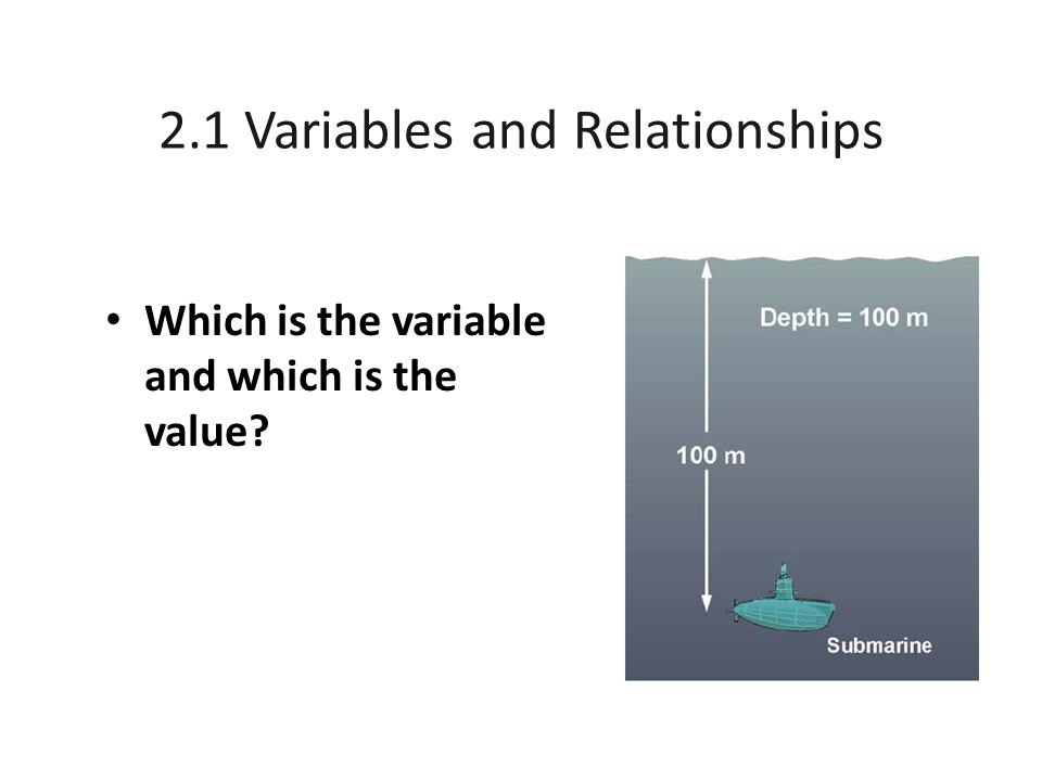 2.1 Variables and Relationships Which is the variable and which is the value?