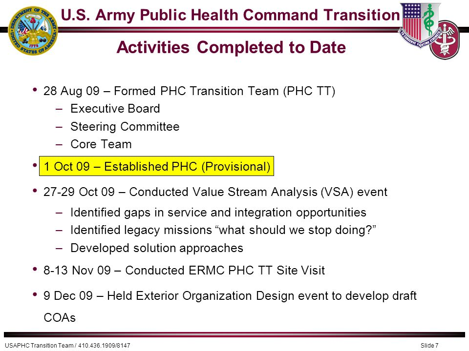 USAPHC Transition Team / 410.436.1909/8147 U.S.