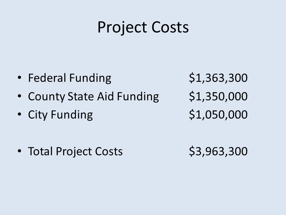 Project Costs Federal Funding $1,363,300 County State Aid Funding $1,350,000 City Funding$1,050,000 Total Project Costs $3,963,300