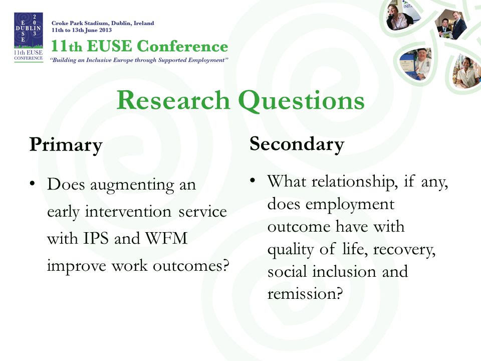 Research Questions Primary Does augmenting an early intervention service with IPS and WFM improve work outcomes? Secondary What relationship, if any,