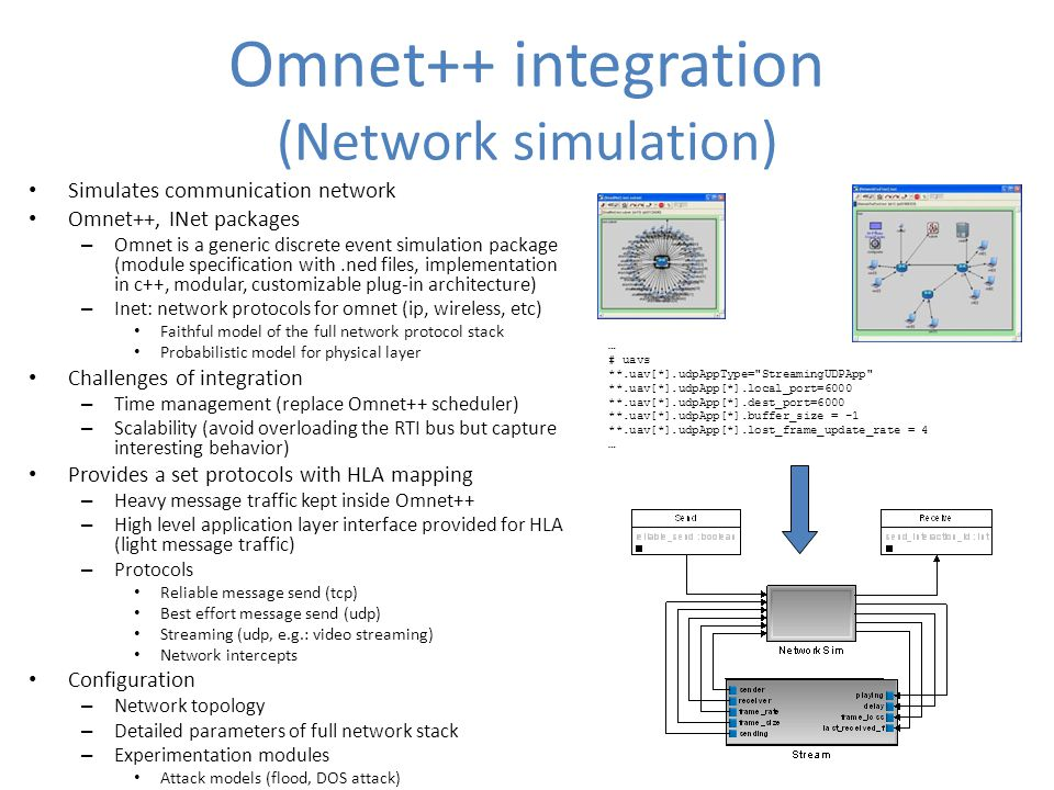 Omnet++ integration (Network simulation) Simulates communication network Omnet++, INet packages – Omnet is a generic discrete event simulation package