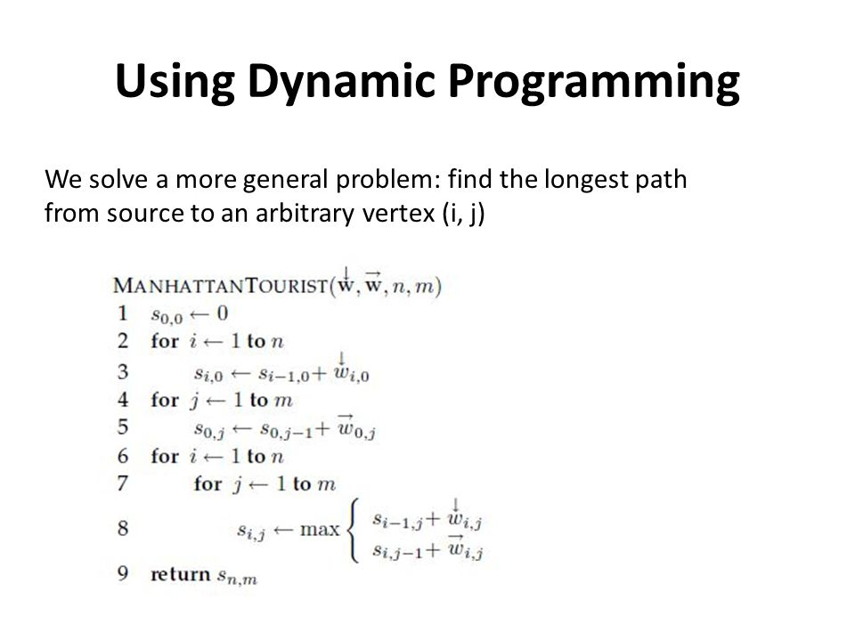 Using Dynamic Programming We solve a more general problem: find the longest path from source to an arbitrary vertex (i, j)