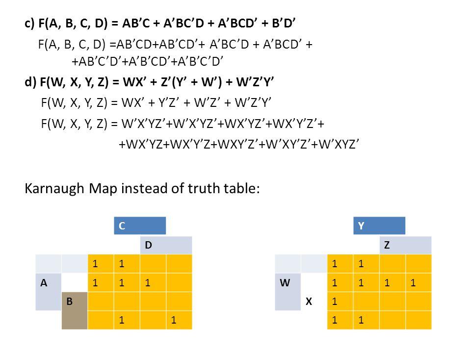 c) F(A, B, C, D) = AB'C + A'BC'D + A'BCD' + B'D' F(A, B, C, D) =AB'CD+AB'CD'+ A'BC'D + A'BCD' + +AB'C'D'+A'B'CD'+A'B'C'D' d) F(W, X, Y, Z) = WX' + Z'(