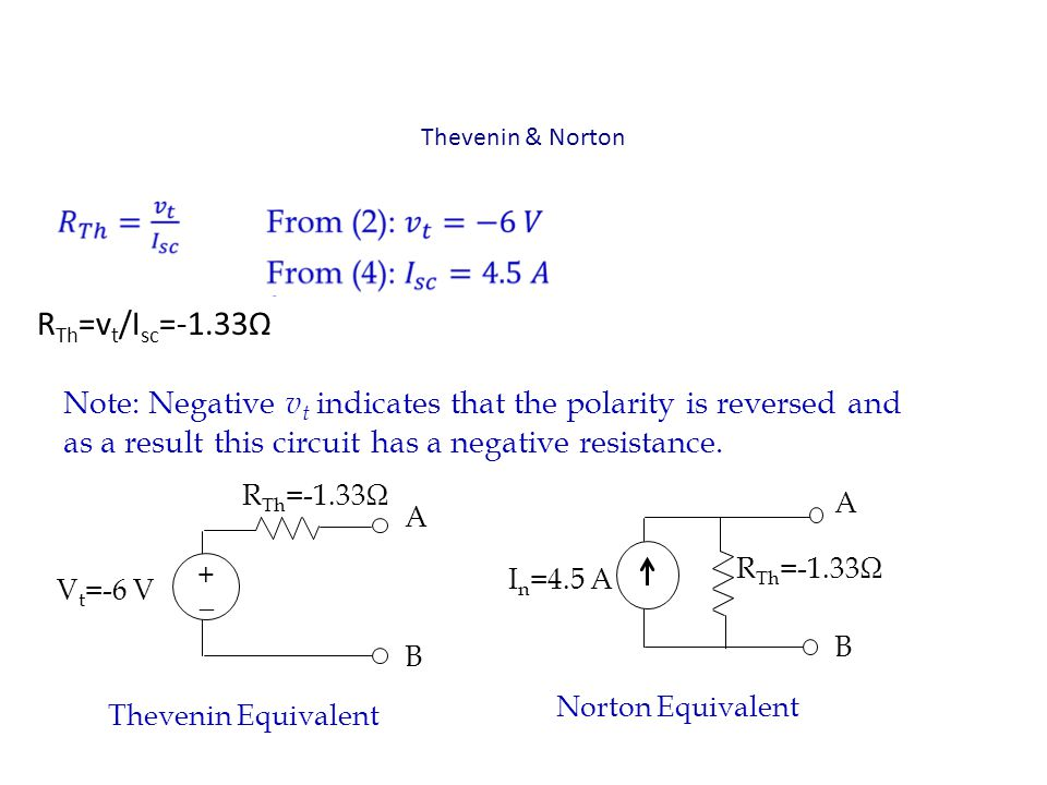Thevenin & Norton Note: Negative v t indicates that the polarity is reversed and as a result this circuit has a negative resistance. + _ V t =-6 V R T