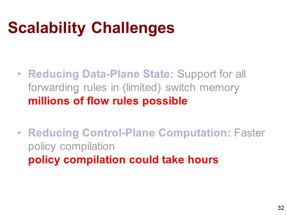 Scalability Challenges Reducing Data-Plane State: Support for all forwarding rules in (limited) switch memory millions of flow rules possible Reducing Control-Plane Computation: Faster policy compilation policy compilation could take hours 32