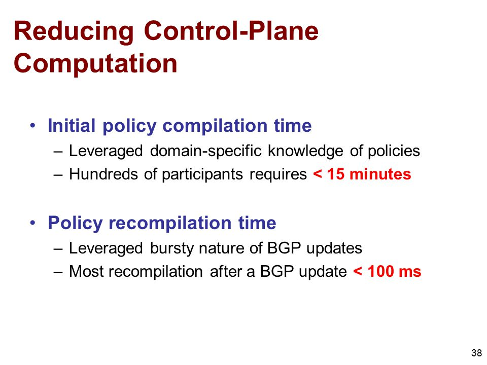 Reducing Control-Plane Computation 38 Initial policy compilation time –Leveraged domain-specific knowledge of policies –Hundreds of participants requi