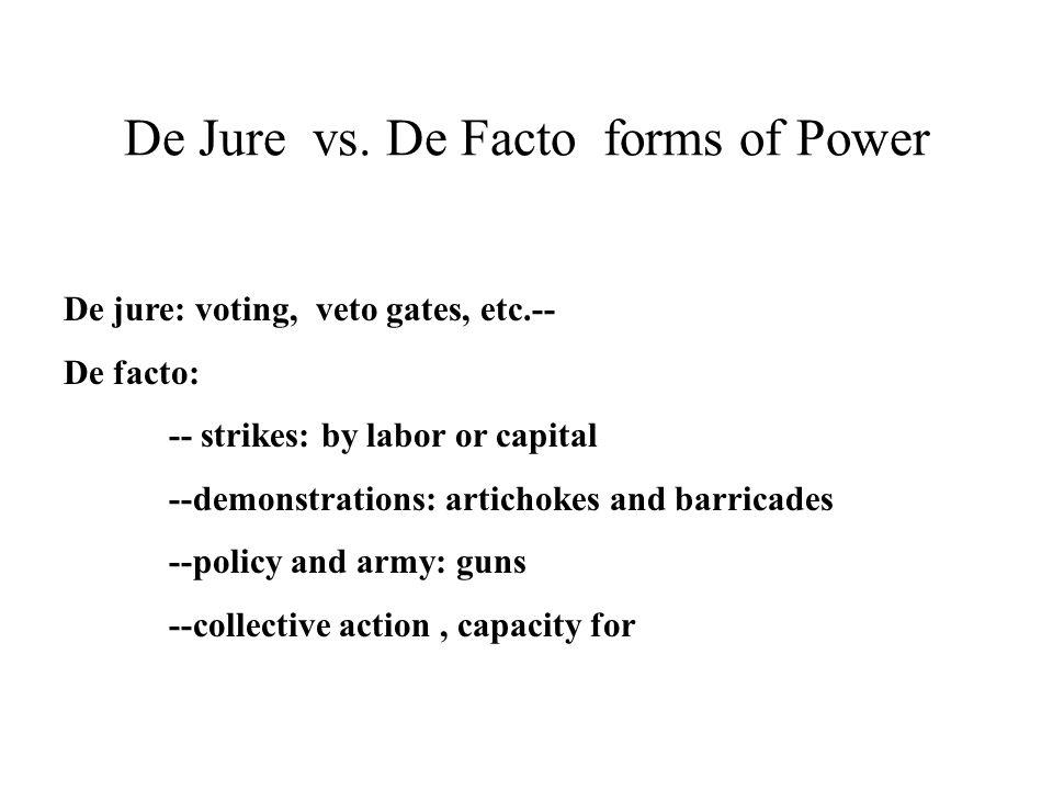De Jure vs. De Facto forms of Power De jure: voting, veto gates, etc.-- De facto: -- strikes: by labor or capital --demonstrations: artichokes and bar