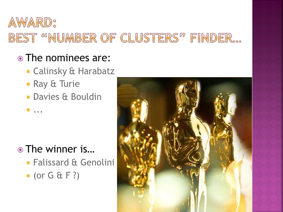  The nominees are:  Calinsky & Harabatz  Ray & Turie  Davies & Bouldin ...  The winner is…  Falissard & Genolini  (or G & F ?)