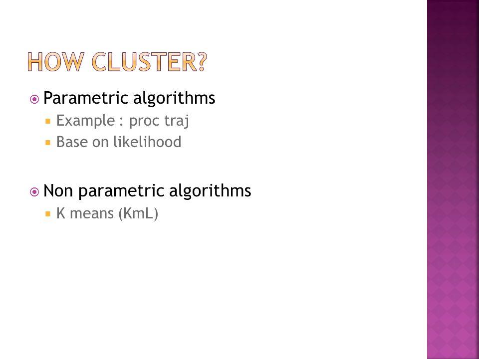  Parametric algorithms  Example : proc traj  Base on likelihood  Non parametric algorithms  K means (KmL)
