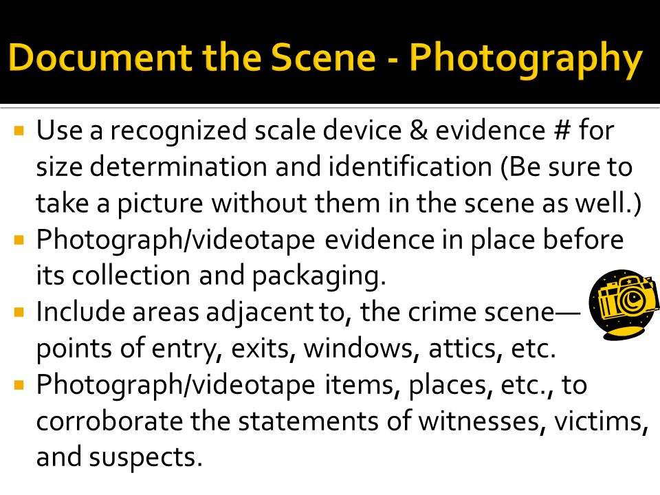  Use a recognized scale device & evidence # for size determination and identification (Be sure to take a picture without them in the scene as well.)