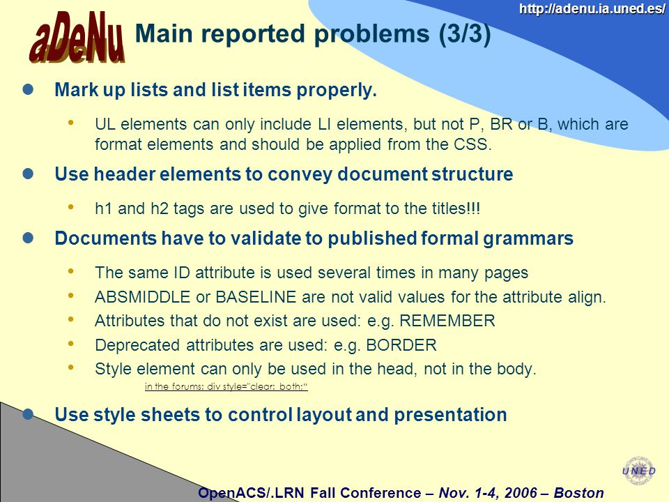 http://adenu.ia.uned.es/ OpenACS/.LRN Fall Conference – Nov.