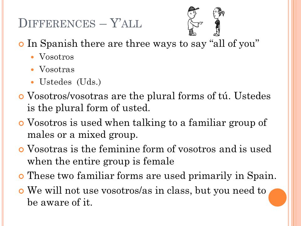 In Spanish there are three ways to say all of you Vosotros Vosotras Ustedes (Uds.) Vosotros/vosotras are the plural forms of tú.