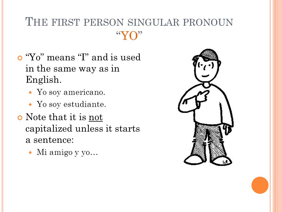 S ECOND PERSON SINGULAR PRONOUN T Ú Tú means you (familiar/ informal) Used when talking to someone familiar We'll learn more about this in a moment.