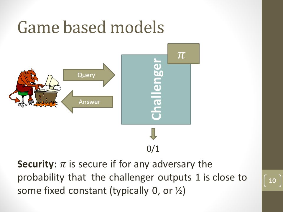 Game based models 10 Challenger Query Answer 0/1